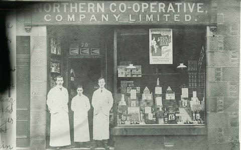 The Northern Co-operative Company Limited shop. An advert for tea is in the window and prices on the food display.
