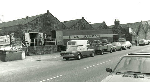 An Elgin Transport lorry at Stonehaven Motors