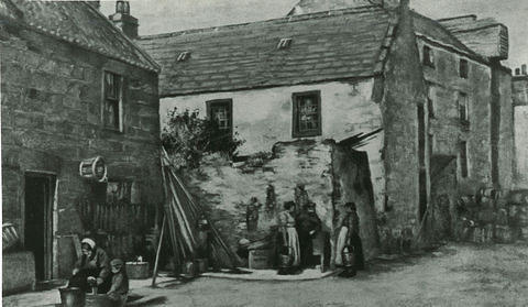 A drawing of people and houses at Shorehead in the Old Town with the Granary in the background.