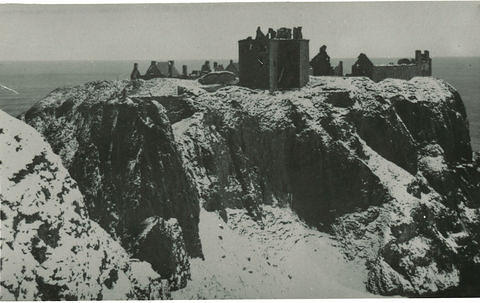 Dunnottar Castle in the snow.