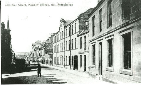 Looking north along Allardice Street with Mowats Tannery Offices on the right, and Megray Hill in the distance