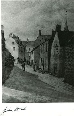A painting of John Street in the Old Town