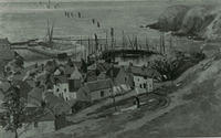 A drawing looking towards the sea of the old town, harbour and Downie Point from Bervie Braes