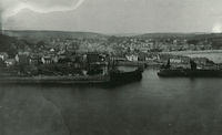 Stonehaven harbour and town beyond