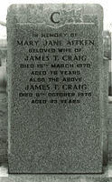 Gravestone in memory of Mary Jane Aitken wife of James T. Craig.