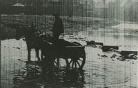 A man with his horse and cart on the beach.