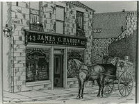 A drawing of the frontage of James G.Hadden's Grocer Shop at No.43 Evan Street with his horse and cart standing outside