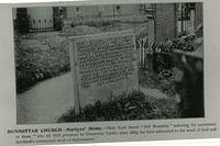 The Martyrs' Stone in Dunnottar Churchyard - memorial to the covenanters who died in Dunnottar Castle in 1685.