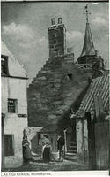A drawing of 'An old corner, Stonehaven'. the street sign reads Albert Lane and the Old Town Steeple can be seen behind the houses.