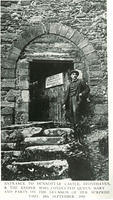 Entrance to Dunnottar Castle & the keeper who conducted Queen Mary and her party on the occassion of her surprise visit 24 September 1910.