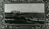 Postcard of Stonehaven Golf Course with Croft house behind and Cowie Kirkyard in the foreground