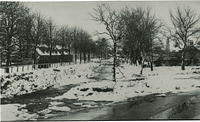 The River Carron and Ladies in  Carron Terrace in the snow
