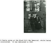 A family group at the Black Hill War Memorial  whilst it was being constructed
