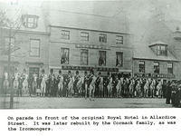 Soldiers on parade outside the Royal Ury Hotel in Allardice Street, later rebuilt and became the Royal Hotel.