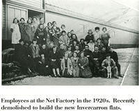 Employees at the Net Factory in the 1920s, later the site of the Invercarron flats