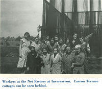 Workers at the Invercarron Net Factory, with Carron Terrace in the background